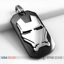 Stainless Steel Movie Super Hero Avengers Iron Man Mask Dog Tag Pendent Cool 14P