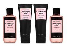 Bath & Body Works Champagne Rose Shea Body Cream & Shower Gel - 4 Piece Set