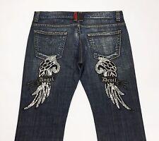 Angel devil jeans donna usati W36 tg 50 slim blu denim vita bassa dritti T2213