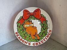 1978 GARFIELD Season Greeting Round Tin Container Christmas Wreath Jim Davis