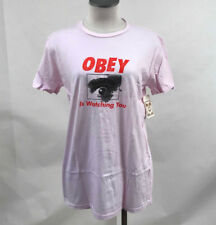 Obey Women's T-Shirt Obey is Watching You Pink Size S NWT Shepard Fairey
