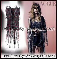 Kate Moss Topshop Black Red Leather Fringe Waistcoat 1/200 Ltd Ed. M L 12 14 16