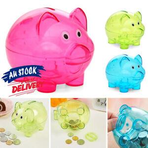 Transparent Piggy Storage Box Children Gift Cartoon Pig Money Coins Box Bank