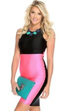 Sexy Size Large Ladies Pink & Black Color Block Bodycon Club Wear Dress!! New!