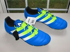 ADIDAS ACE 16.1 SG LEATHER SHOCK BLUE SEMI SOLAR SLIME WHITE, S32066 SIZE US 12