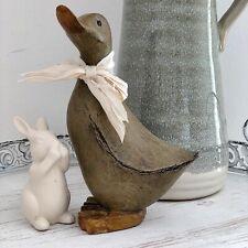 Stunning shabby chic Resin Duck ornament shelf sitter home decor 15cm