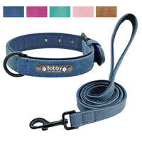 Leather Personalized Dog Collar and Leash Set Small Large Purple Pink Brown Blue