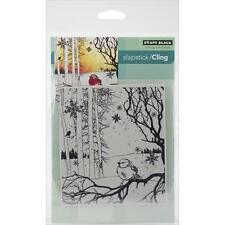 New Cling Penny Black RUBBER STAMP Winter Song bird Christmas   free us shp