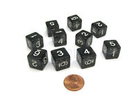 Pack of 10 D6 6 Sided 16mm Koplow Games Number Glitter Dice - Black