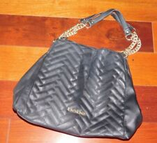 Black Bebe Purse Handbag W/ Gold Logo And Chains