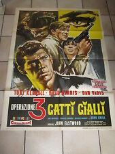 MANIFESTO,1966,OPERAZIONI 3 GATTI GIALLI,SYMEONI,BRAD HARRIS,T.KENDALL,EASTWOOD