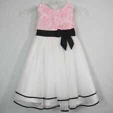 Fancy Dressy Spcecial Occasion Formal Dress Pink Black White Satin Tulle girls 6