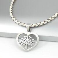 Argent inox arbre de la vie amour pendentif blanc cuir tressé collier femme