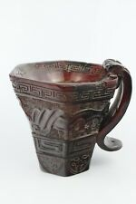 18th Century Chinese Exquisite Hand-Carved Brave Troops OX Horn Cup Signed 10cm