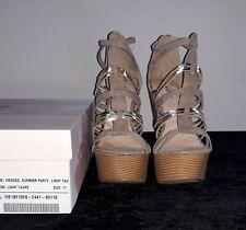 High Heels 155mm Wedges Gr. EU42/US11 taupe/gold, Oberfläche wie Wildleder