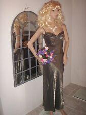 superbe   robe longue dorée or satin bronze doré    ref 1765