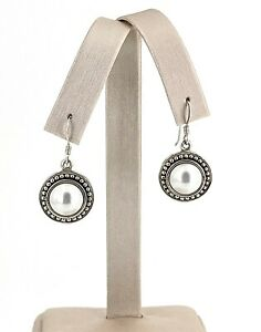 Vintage .925 Sterling Silver Bead Trim Faux Pearl French Wire Earrings