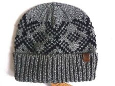 TIMBERLAND Grey Black Chunky Mohair Beanie Hat Toque Tags OSFM Adult New Tags