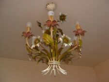 Vintage French Painted Metal Ceiling Light,Six Bulbs,Year 70S.