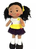 "Linzy Aissa Fabric Rag Doll, plush, Handmade with Yellow Dress 16"" inch"
