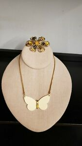 SIGNED Celia Sebiri ENAMEL BUTTERFLY PENDANT NECKLACE & AMAZING BROOCH