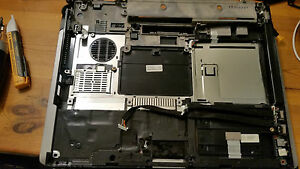 HP Compaq nc6120 base with hard drive cover, RAM cover, USB leads, AVG lead,