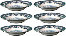 JOHNSON BROS OLD BRITAIN CASTLES BLUE 6 x RIM SOUP BOWLS (seconds) NEW/UNUSED