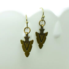 Arrowhead Earrings, Antique Bronze Finish, Vintage Style Charm Pendant Earring