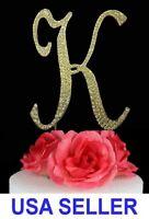 "Large Rhinestone Crystal Monogram ""K"" Wedding Cake Topper 5"" inch High Gold"