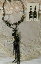 Pearl/Crystal Beaded Tassel Necklace and Dangling Earrings Set