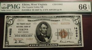 FR1800-2 CH.14002 $5 1929 T2, ELKINS WV, PMG 66 EPQ - POP 28 - TIED FINEST KNOWN