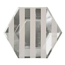 8 Plateado Papel Metálico Platos de Papel Hexagan Plata Plato para Fiestas 23 Cm