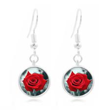 Red Rose Flower glass Frea Earrings Art Photo Tibet silver Earring Jewelry #471