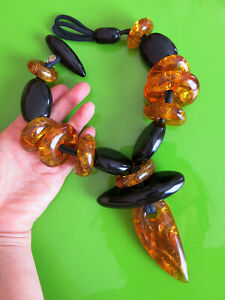 SIGNED MONIES GERDA LYNGGAARD AMBER & BLACK ACRYLIC MASSIVE COUTURE NECKLACE