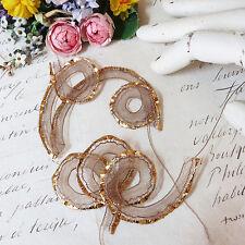 1y Antique Vtg Gold Metallic Crinoline / Horsehair Millinery Ruching Ribbon Trim
