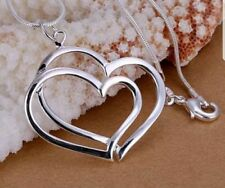 Sterling Silver 925 Plated Double Hearts Pendant Chain Necklace.