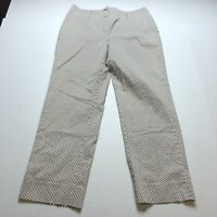 Talbots Sz 12 Tan Brown Diamond Print Crop Ankle Pants A2185