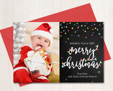 Personalised Christmas Photo Cards Digital or Printed Chalkboard Lights Confetti