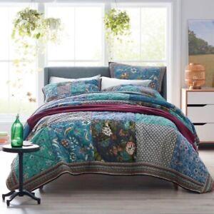 "Hillbrooke Multicolored Floral Queen Cotton Patchwork Quilt 90"" X 92"""