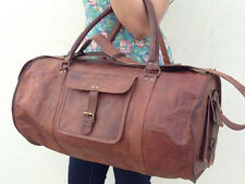 New Men's Large Brown Leather Handmade Vintage Duffle Luggage Gym Travel Bag
