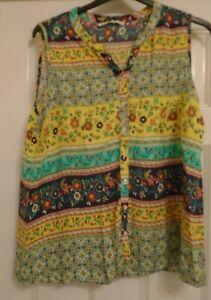 Ladies - TU Woman -Smart Summer Sleeveless Patterned Longer Top - Size 18