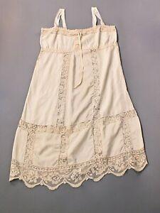 VTG Women's 20s 30s Beige / White Underwear / Slip w Lace Sz L 1920s 1930s