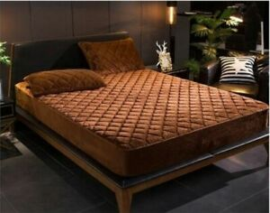 Thicken Warm Soft Quilt Crystal Velvet Mattress Cover For Bedrooms Fitted Sheets