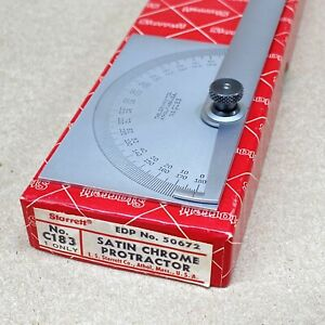 STARRETT No. C183 PROTRACTOR SATIN CHROME - machinist tools