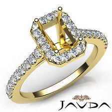 Emerald Diamond Semi Mount Engagement Prong Setting Ring 18k Yellow Gold 0.5Ct