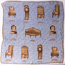 """Vintage Designer Silk Scarf w/ Antique Furniture Print 20.50"""" x 20.75"""""""