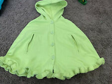 KELLY KIDS BOUTIQUE GREEN CAPE JACKET COAT COTTON LIME PEA HOODED 6 7