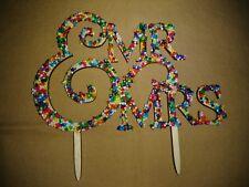 Handmade Mr and Mrs Sprinkles Wedding Cake Topper