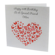 HANDMADE PERSONALISED Butterfly Heart FEMALE Relation BIRTHDAY CARD 18th 21st 30