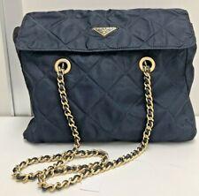 auth vintage Prada tessuto navy blue leather gold logo chain shoulder hand bag